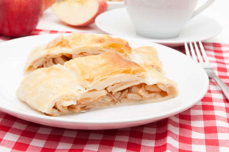 Homemade Apple Strudel and Coffee on the Table photo