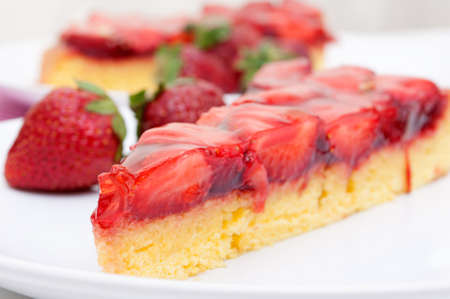 strawberry jelly: Closeup of Homemade Strawberry Cake with Jelly - Shallow Depth of Field