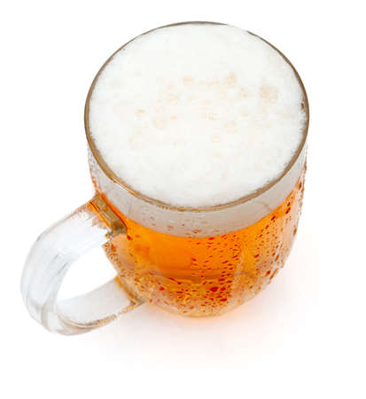 Glass of Draught Beer on White Background photo