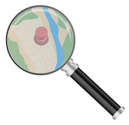Magnifying Glass on Map Isolated on White Stock Vector - 14087907