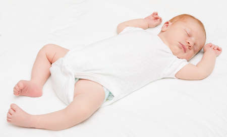 bed sheet: Sleeping Newborn Baby on White Bed Sheet
