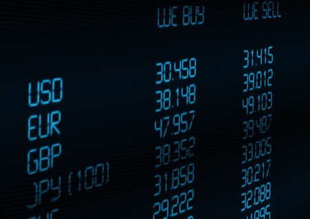 Het valutarisico op blauw display