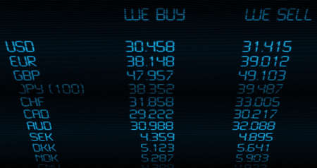 foreign currency: Foreign Currency Exchange Rate on Blue Display