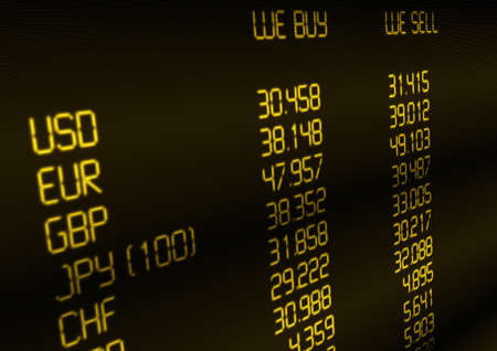 Foreign Currency Exchange Rate on Display Stock Photo - 14088010