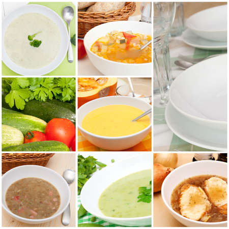 minestrone: Collage of Various Soups Stock Photo