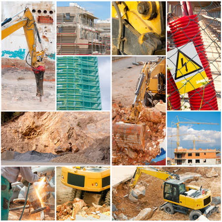 Construction Collage - Digger, Elevator, House Construction, Demolition, Welder
