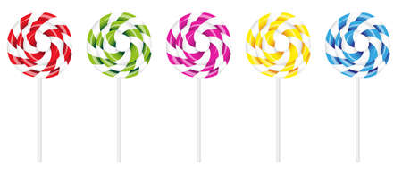 Illustration of Swirly Lollipop in Various Colors Isolated on White Background Illustration