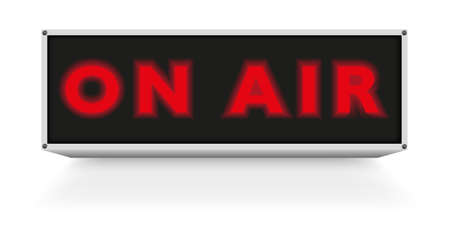 radio station: On Air Sign on White Background