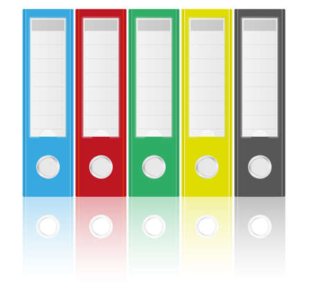 Illustration of Binders in Various Colors on White Background Vector