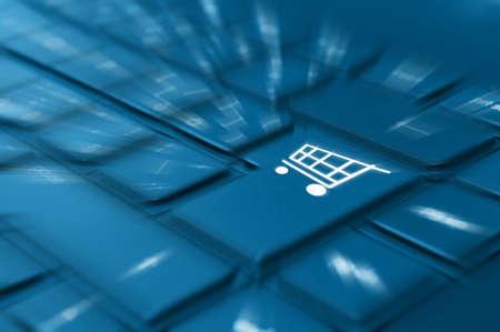 Concepto de compras en línea - Detalle de claves con símbolos en el teclado de la cesta Foto de archivo
