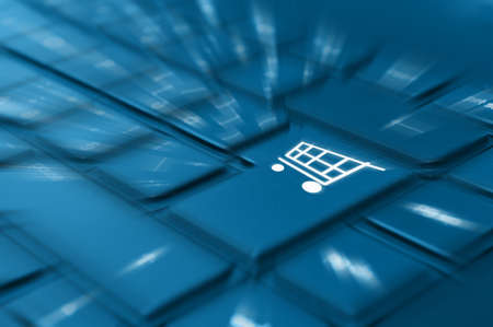 eshop: Online Shopping Concept - Detail of Key With Cart Symbol on Keyboard Stock Photo