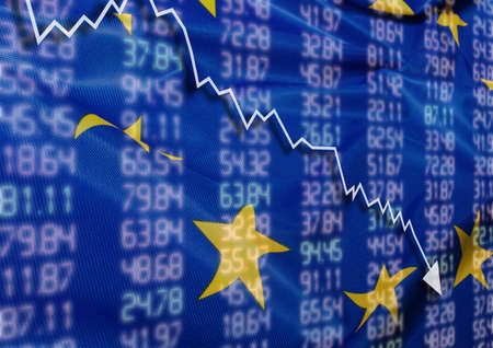 sell shares: Crisis in Europe - Shares Fall Graph on European Union Flag