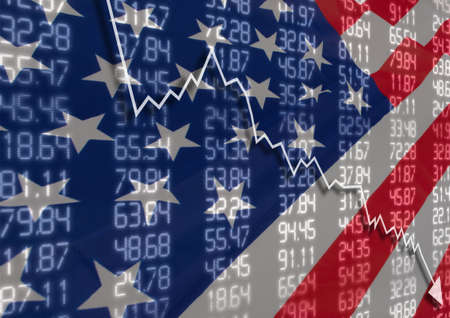 Krise in den USA - Aktien Fall Graph auf United States of America Flagge Standard-Bild