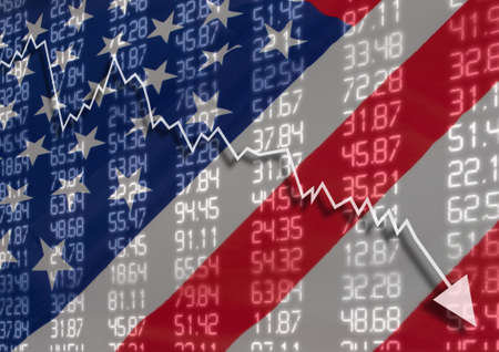 Crisis in USA - Shares Fall Graph on United States of America Flag