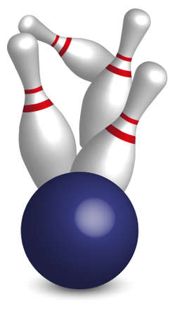 Bowling - Four Pins and Blue Ball On White Background Vector Vector