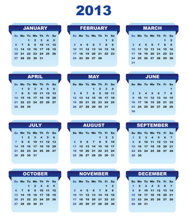 2013 Calendar in Shades of Blue on White Background Stock Vector - 15398754