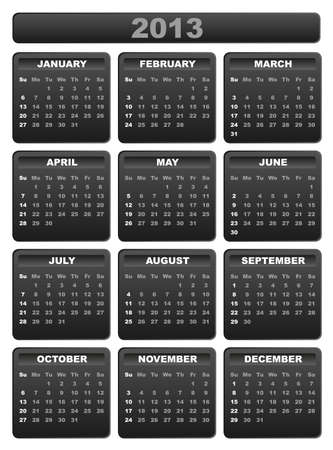 2013 Calendar in Shades of Grey on White Background Vector