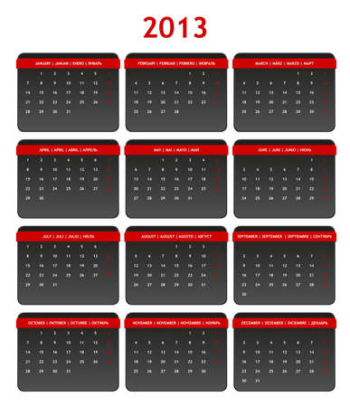 2013 International Calendar in Shades of Gray on White Background Stock Vector - 15417787