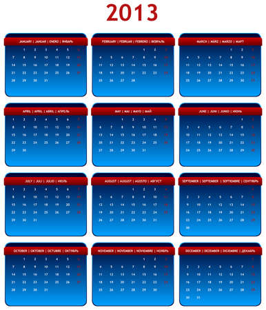 2013 International Calendar in Shades of Gray on White Background Vector