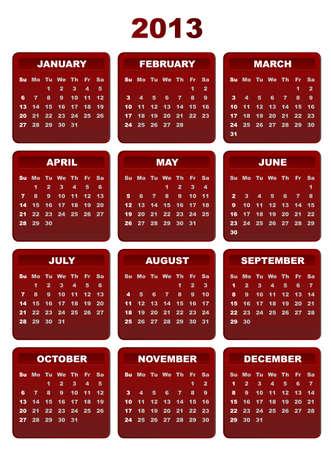 2013 Calendar on White Background Stock Vector - 15778162