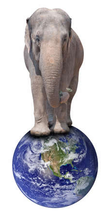 Elephant Standing on Earth Globe - Isolated on White  Elements of this image furnished by NASA  Terms of use  http   visibleearth nasa gov useterms php photo