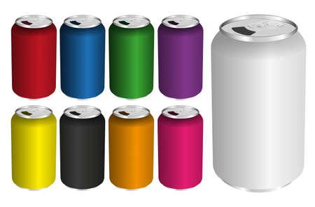 lata de refresco: Ilustración de latas de bebidas en varios colores aislados en blanco