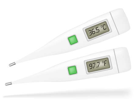 clinical thermometer: Illustration of Thermometers Isolated on White Background