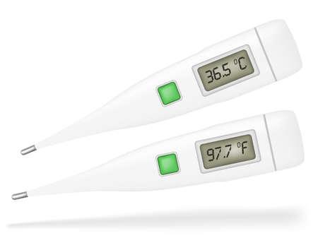 digital thermometer: Illustrazione di Termometri isolato su sfondo bianco
