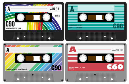 Illustration - Collection of Retro Audio Cassette Tapes Isolated on White Background