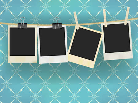 photo frame: Collection of Old Retro Blank Photo Frames Hanging on Rope - on Vintage Wallpaper