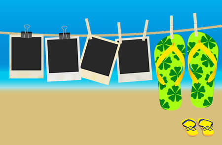 clothes peg: Collection of Old Retro Blank Photo Frames and Flip Flops Hanging on Rope - Summer Beach in Background Illustration