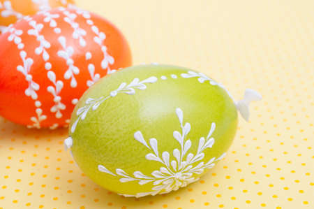 Traditional Homemade Color Painted Easter Eggs - Shallow Depth of Field photo