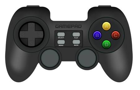 Illustration of Black Gamepad Isolated on White Vector