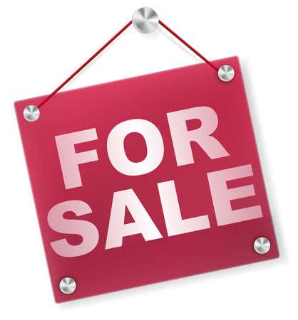 For Sale Sign - Illustratie van Uithangbord Geà ¯ soleerd op wit