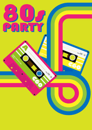 eighties: Retro Poster - 80s Party Flyer With Audio Cassette Tapes