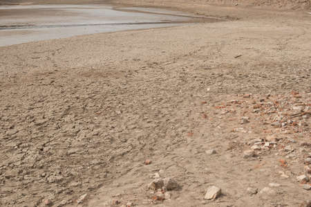 desertification: Rest of the Water on bottom of the dried lake