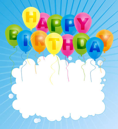 Happy Birthday Card- Color Balloons With With Happy Birthday Sign Vector