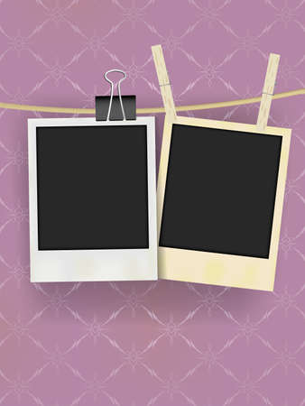 clothes peg: Two Old Retro Blank Photo Frames Hanging on Rope - on Vintage Wallpaper Illustration
