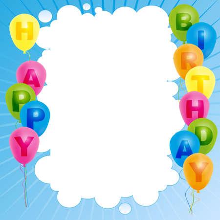 Feliz cumpleaños tarjeta de color-globos con con la muestra del feliz cumpleaños