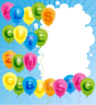 Happy Birthday Card- Color Balloons With With Happy Birthday Sign - German Version Vector