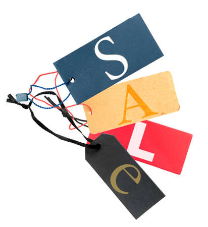 Paper Tags With Sale Sign Isolated on White Background