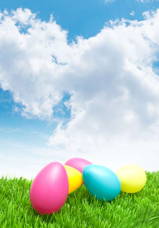 Color Easter Eggs in Grass Under Blue Sky photo