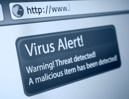 Closeup of Virus Alert Sign in Internet Browser on LCD Screen