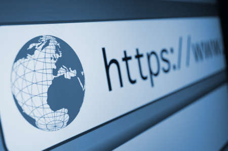 domains: Closeup of Computer Screen With Address Bar of Web Browser Stock Photo