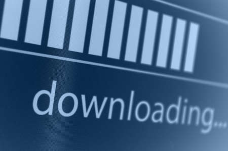 torrent: Closeup of Download Process Bar on LCD Screen Stock Photo