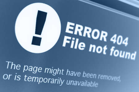 Closeup of 404 Error Sign in Internet Browser on LCD Screen Stock Photo - 18367199