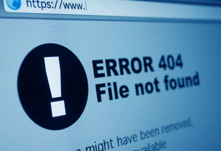 anti piracy: Closeup of 404 Error Sign in Internet Browser on LCD Screen