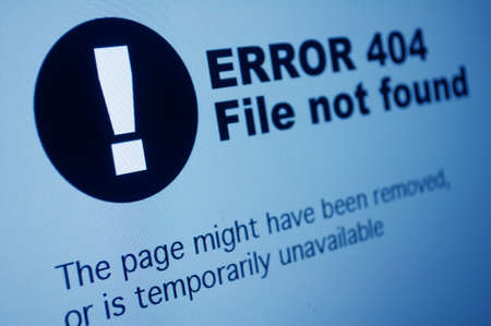 Closeup of 404 Error Sign in Internet Browser on LCD Screen Stock Photo - 18367213