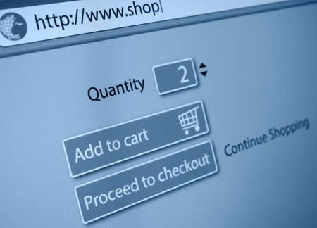 Online Shopping - Add To Cart Button Stock Photo - 18440279