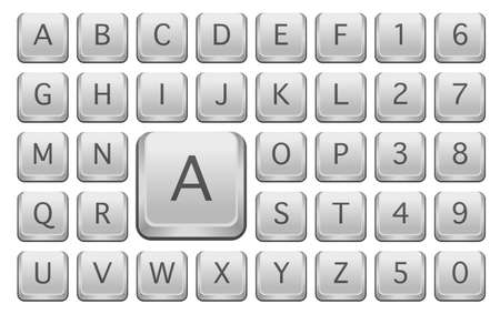 computer key: Keyboard Keys With Alphabet Letters - Isolated on White